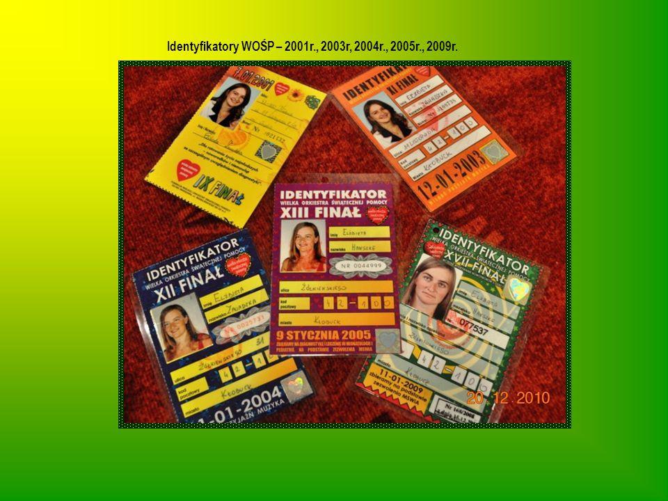 Identyfikatory WOŚP – 2001r., 2003r, 2004r., 2005r., 2009r.