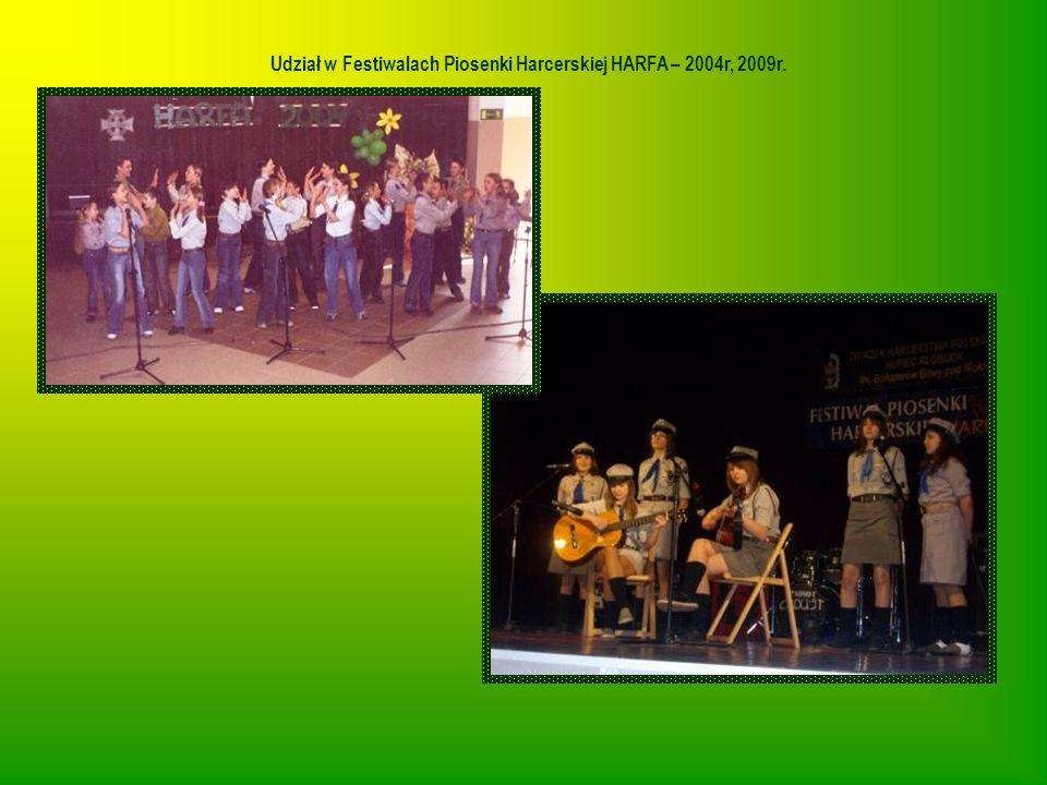 Udział w Festiwalach Piosenki Harcerskiej HARFA – 2004r, 2009r.