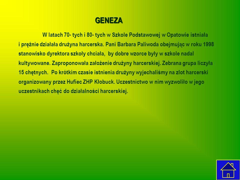 GENEZA W latach 70- tych i 80- tych w Szkole Podstawowej w Opatowie istniała i prężnie działała drużyna harcerska. Pani Barbara Paliwoda obejmując w r