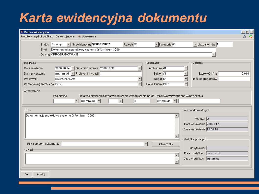 Karta ewidencyjna dokumentu