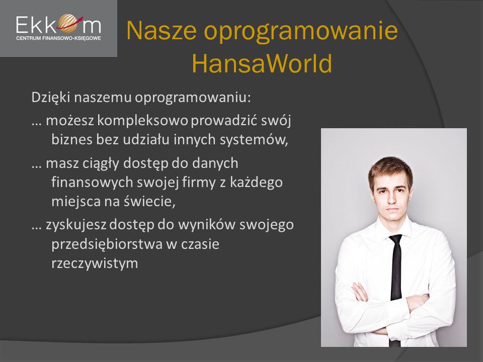 Nasze oprogramowanie HansaWorld Dzięki naszemu oprogramowaniu: … możesz kompleksowo prowadzić swój biznes bez udziału innych systemów, … masz ciągły dostęp do danych finansowych swojej firmy z każdego miejsca na świecie, … zyskujesz dostęp do wyników swojego przedsiębiorstwa w czasie rzeczywistym