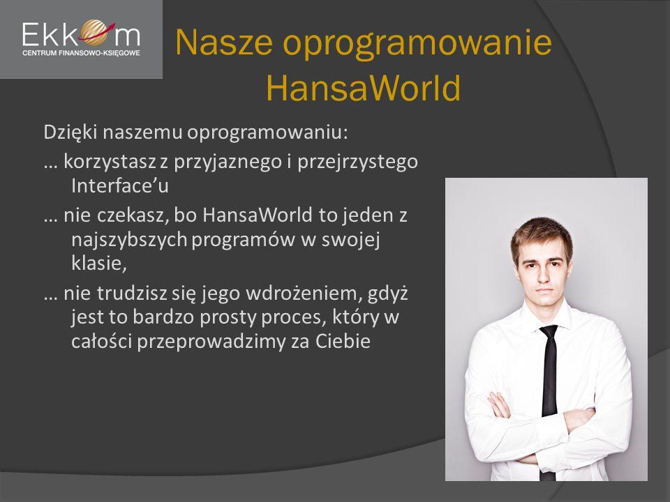Nasze oprogramowanie HansaWorld Dzięki naszemu oprogramowaniu: … korzystasz z przyjaznego i przejrzystego Interface'u … nie czekasz, bo HansaWorld to jeden z najszybszych programów w swojej klasie, … nie trudzisz się jego wdrożeniem, gdyż jest to bardzo prosty proces, który w całości przeprowadzimy za Ciebie