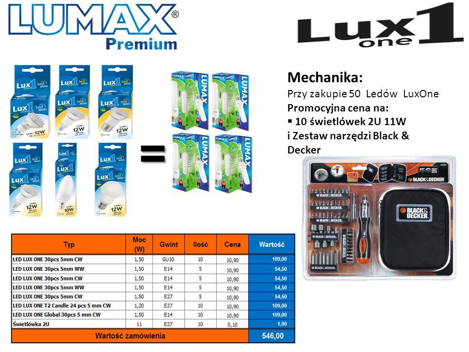 Mechanika: Przy zakupie 50 Ledów LuxOne Promocyjna cena na:  10 świetlówek 2U 11W i Zestaw narzędzi Black & Decker =