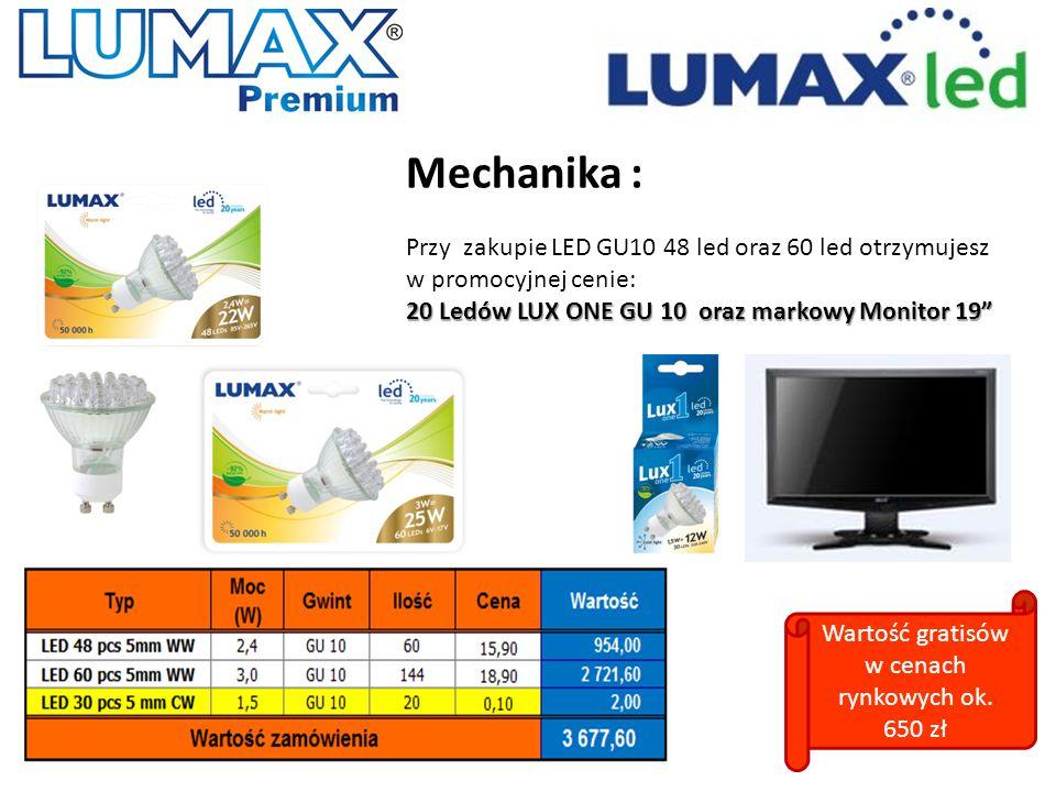 """Mechanika : Przy zakupie LED GU10 48 led oraz 60 led otrzymujesz w promocyjnej cenie: 20 Ledów LUX ONE GU 10 oraz markowy Monitor 19"""" Wartość gratisów"""