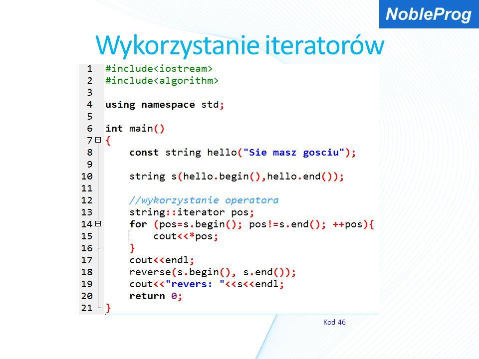 Wykorzystanie iteratorów Kod 46