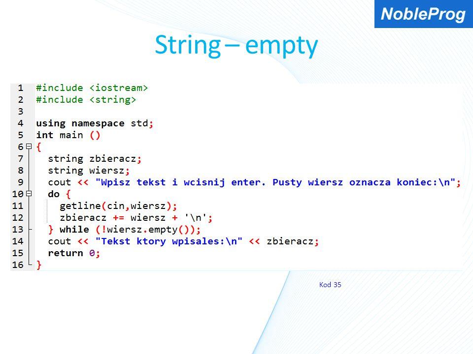 String – empty Kod 35