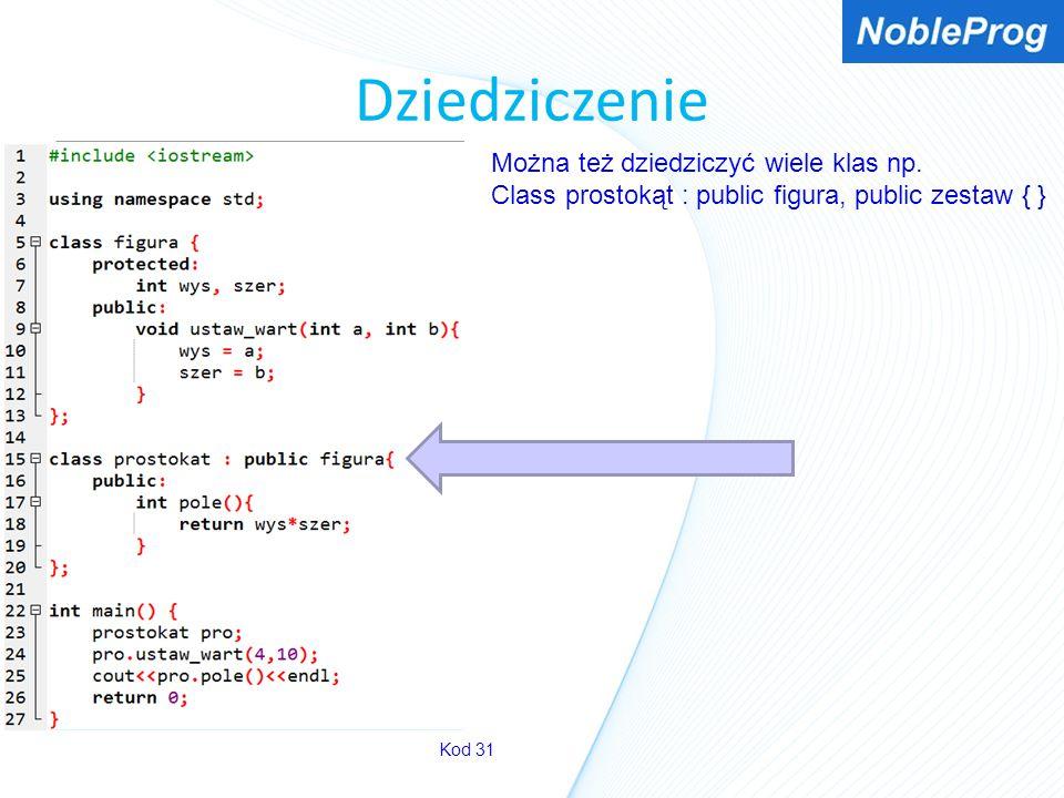 Dziedziczenie Kod 31 Można też dziedziczyć wiele klas np. Class prostokąt : public figura, public zestaw { }