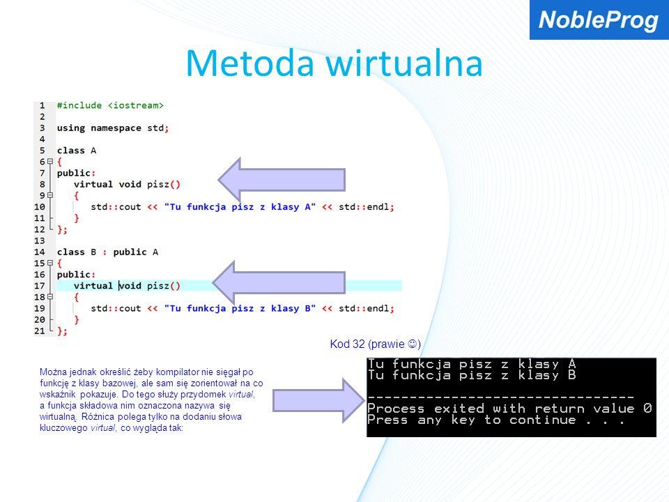 Metoda wirtualna Kod 32 (prawie ) Można jednak określić żeby kompilator nie sięgał po funkcję z klasy bazowej, ale sam się zorientował na co wskaźnik