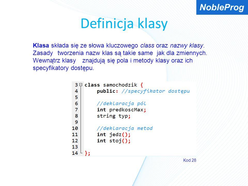 Definicja klasy Kod 28 Klasa składa się ze słowa kluczowego class oraz nazwy klasy. Zasady tworzenia nazw klas są takie same jak dla zmiennych. Wewnąt