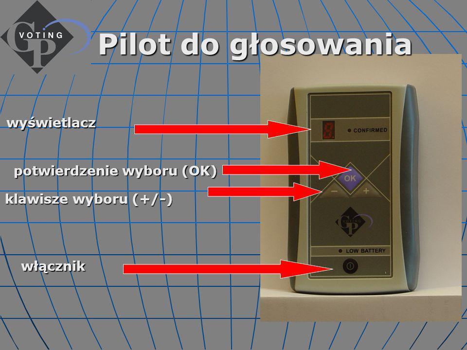Pilot do głosowania klawisze wyboru (+/-) włącznik wyświetlacz potwierdzenie wyboru (OK)