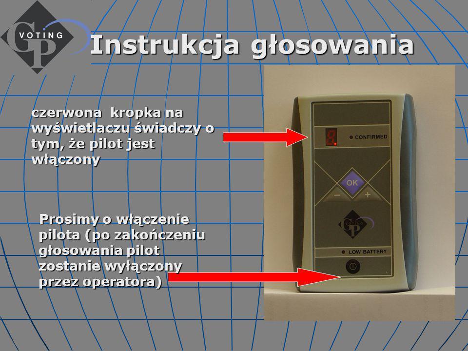 Pojawienie się na ekranie znaczka GP VOTING sygnalizuje zbliżający się moment głosowania: