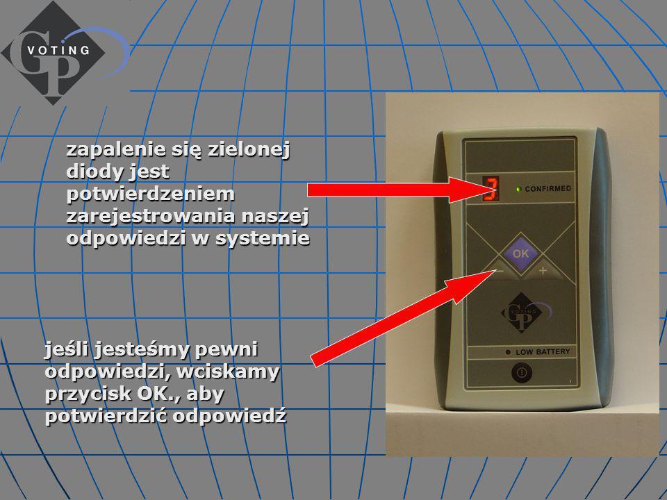 jeśli jesteśmy pewni odpowiedzi, wciskamy przycisk OK., aby potwierdzić odpowiedź zapalenie się zielonej diody jest potwierdzeniem zarejestrowania naszej odpowiedzi w systemie