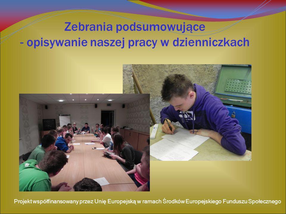 Zebrania podsumowujące - opisywanie naszej pracy w dzienniczkach Projekt współfinansowany przez Unię Europejską w ramach Środków Europejskiego Fundusz