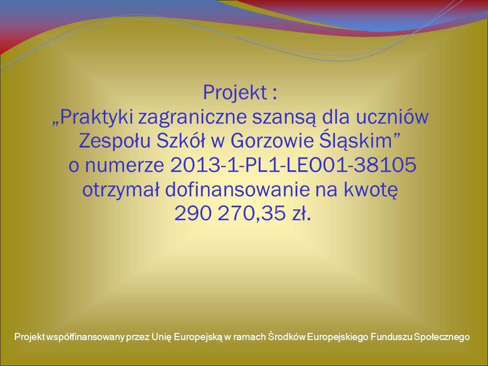"""Projekt : """"Praktyki zagraniczne szansą dla uczniów Zespołu Szkół w Gorzowie Śląskim o numerze 2013-1-PL1-LEO01-38105 otrzymał dofinansowanie na kwotę 290 270,35 zł."""