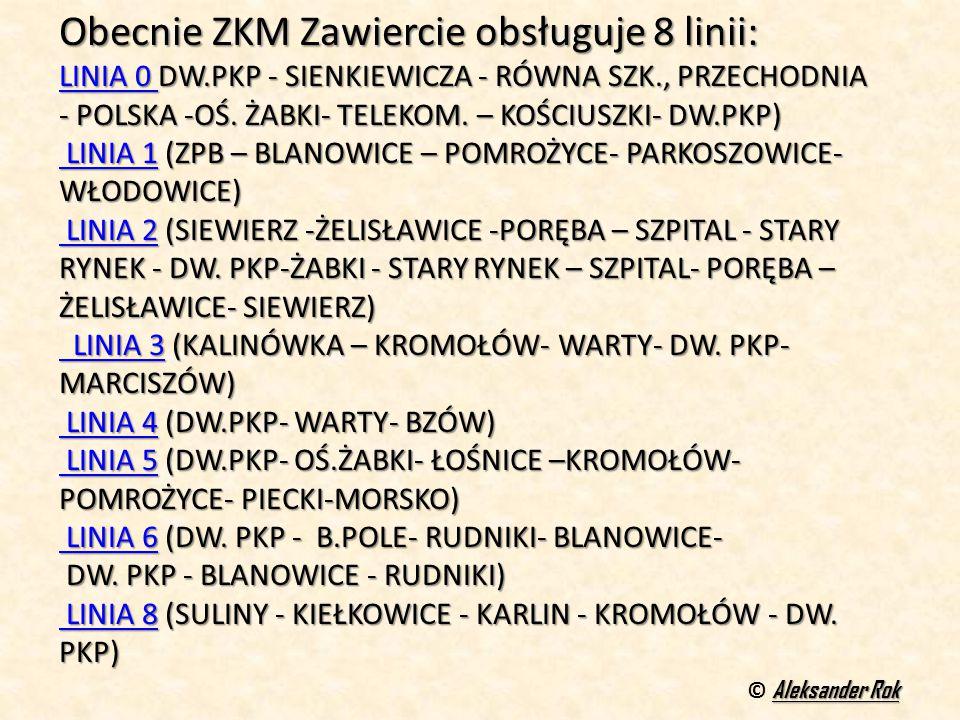 Obecnie ZKM Zawiercie obsługuje 8 linii: LINIA 0 LINIA 0 DW.PKP - SIENKIEWICZA - RÓWNA SZK., PRZECHODNIA - POLSKA -OŚ.