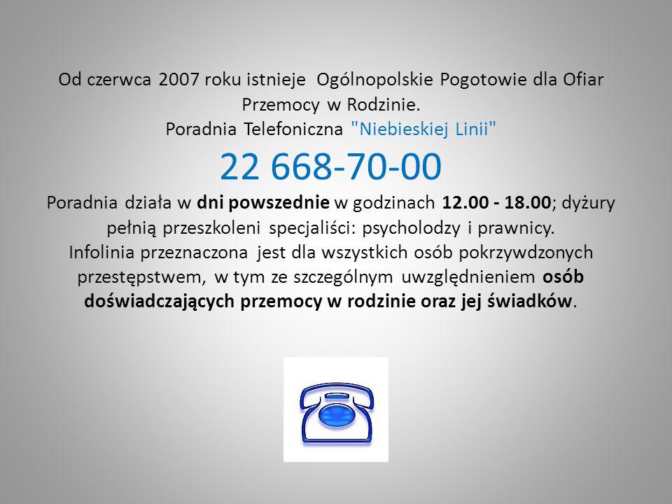 Od czerwca 2007 roku istnieje Ogólnopolskie Pogotowie dla Ofiar Przemocy w Rodzinie. Poradnia Telefoniczna