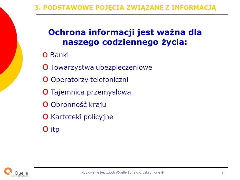 Kopiowanie bez zgody iQuelle Sp. z o.o. zabronione Ⓡ 19 Ochrona informacji jest ważna dla naszego codziennego życia: o Banki o Towarzystwa ubezpieczen