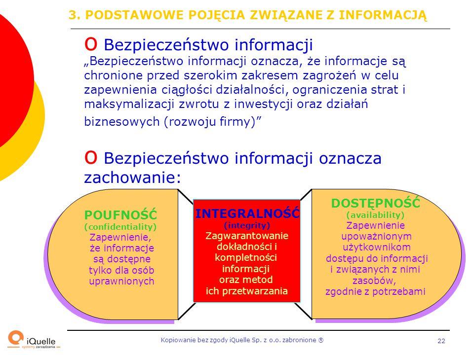 """Kopiowanie bez zgody iQuelle Sp. z o.o. zabronione Ⓡ 22 o Bezpieczeństwo informacji """"Bezpieczeństwo informacji oznacza, że informacje są chronione prz"""