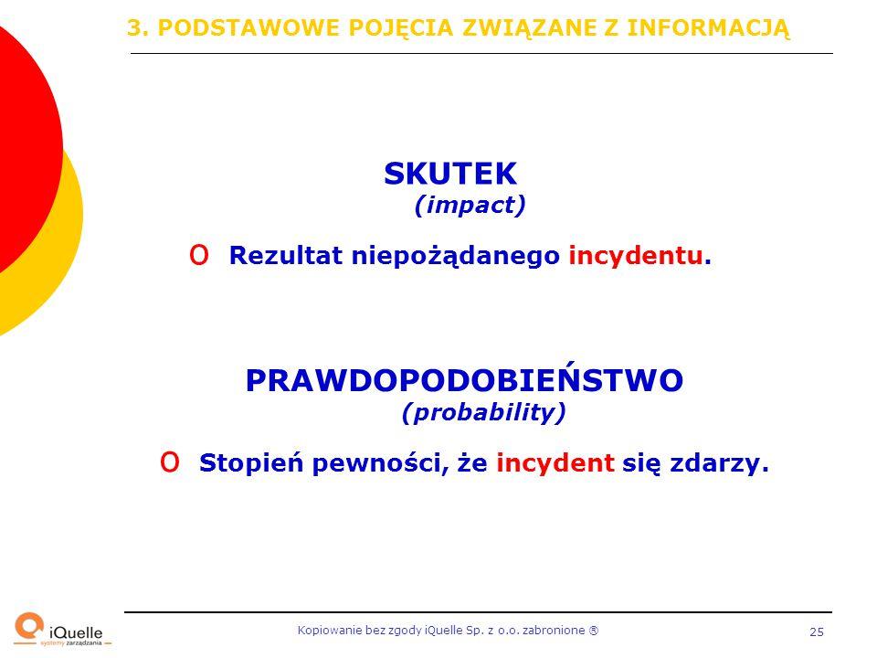 Kopiowanie bez zgody iQuelle Sp. z o.o. zabronione Ⓡ 25 SKUTEK (impact) o Rezultat niepożądanego incydentu. PRAWDOPODOBIEŃSTWO (probability) o Stopień