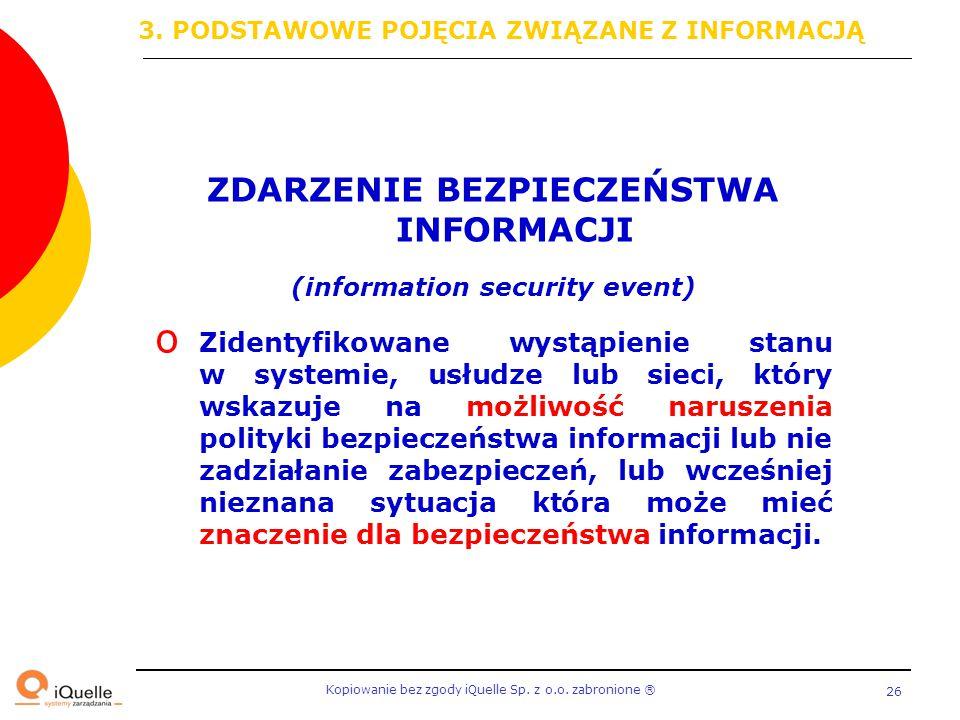 Kopiowanie bez zgody iQuelle Sp. z o.o. zabronione Ⓡ 26 ZDARZENIE BEZPIECZEŃSTWA INFORMACJI (information security event) o Zidentyfikowane wystąpienie