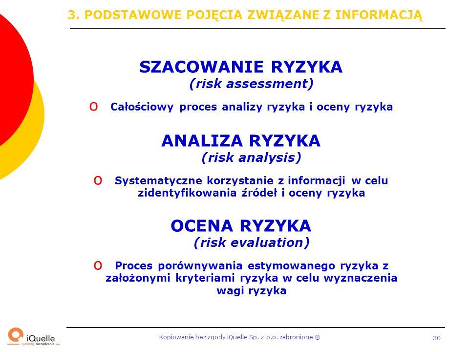 Kopiowanie bez zgody iQuelle Sp. z o.o. zabronione Ⓡ 30 ANALIZA RYZYKA (risk analysis) o Systematyczne korzystanie z informacji w celu zidentyfikowani