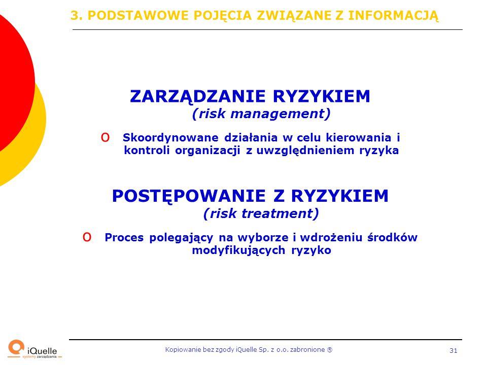 Kopiowanie bez zgody iQuelle Sp. z o.o. zabronione Ⓡ 31 ZARZĄDZANIE RYZYKIEM (risk management) o Skoordynowane działania w celu kierowania i kontroli