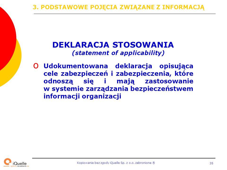 Kopiowanie bez zgody iQuelle Sp. z o.o. zabronione Ⓡ 35 DEKLARACJA STOSOWANIA (statement of applicability) o Udokumentowana deklaracja opisująca cele