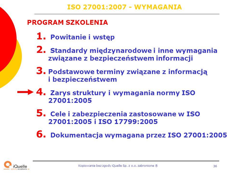 Kopiowanie bez zgody iQuelle Sp. z o.o. zabronione Ⓡ 36 PROGRAM SZKOLENIA 1. Powitanie i wstęp 2. Standardy międzynarodowe i inne wymagania związane z