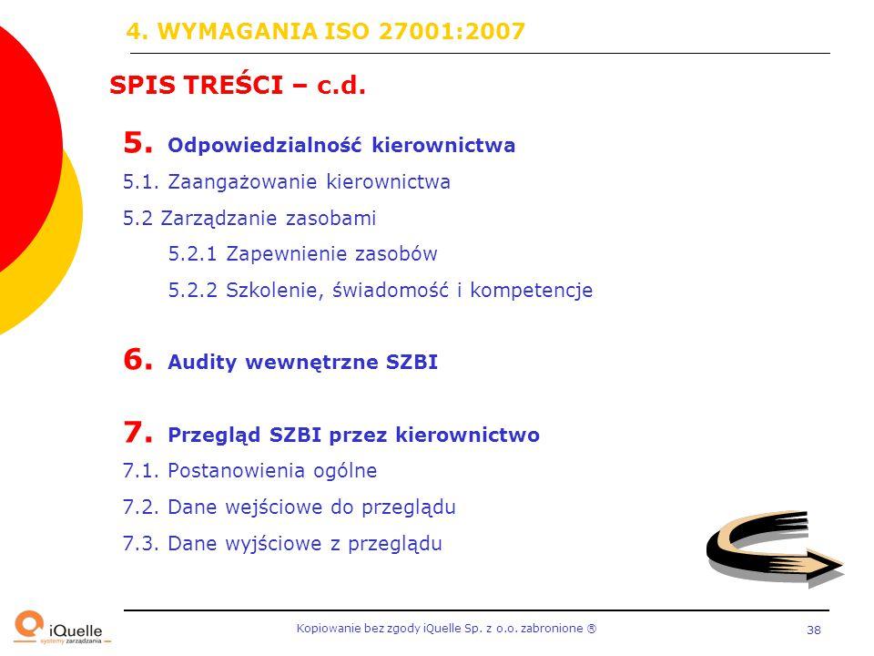 Kopiowanie bez zgody iQuelle Sp. z o.o. zabronione Ⓡ 38 SPIS TREŚCI – c.d. 5. Odpowiedzialność kierownictwa 5.1. Zaangażowanie kierownictwa 5.2 Zarząd