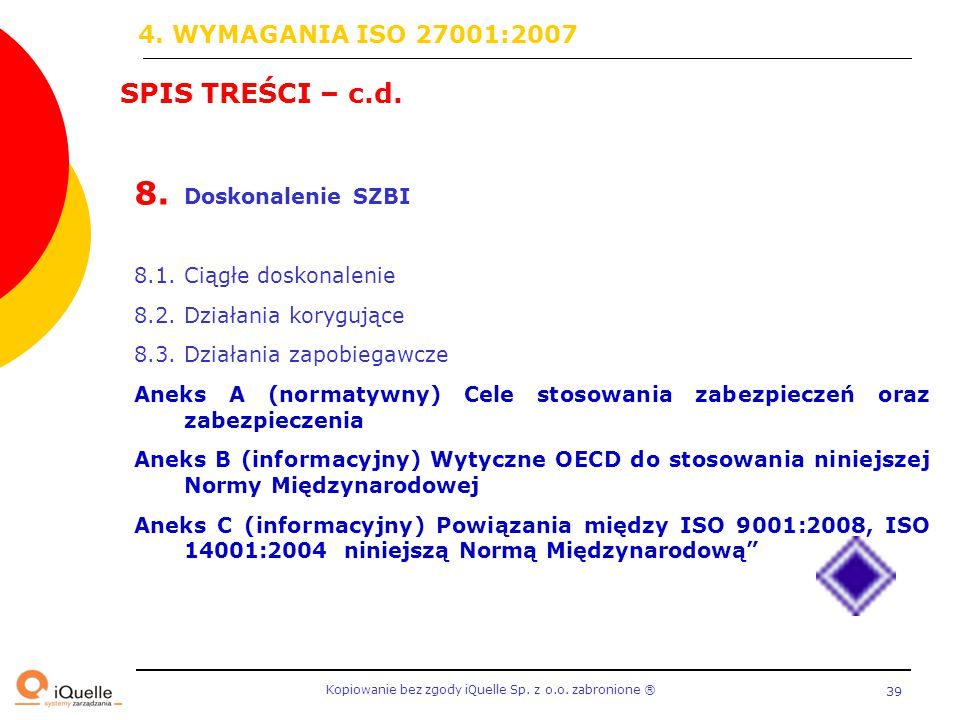 Kopiowanie bez zgody iQuelle Sp. z o.o. zabronione Ⓡ 39 SPIS TREŚCI – c.d. 8. Doskonalenie SZBI 8.1. Ciągłe doskonalenie 8.2. Działania korygujące 8.3