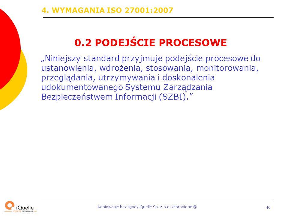"""Kopiowanie bez zgody iQuelle Sp. z o.o. zabronione Ⓡ 40 0.2 PODEJŚCIE PROCESOWE """"Niniejszy standard przyjmuje podejście procesowe do ustanowienia, wdr"""