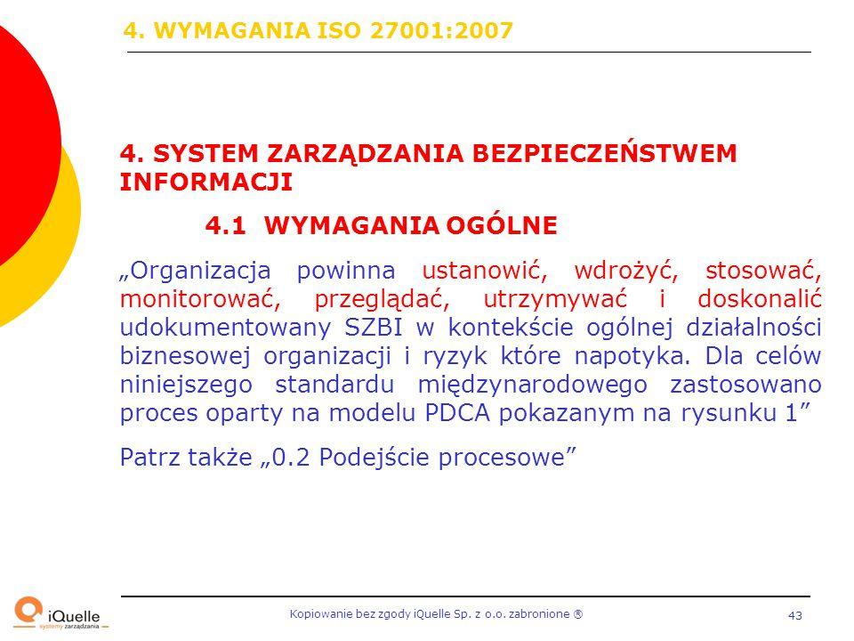 """Kopiowanie bez zgody iQuelle Sp. z o.o. zabronione Ⓡ 43 4. SYSTEM ZARZĄDZANIA BEZPIECZEŃSTWEM INFORMACJI 4.1 WYMAGANIA OGÓLNE """"Organizacja powinna ust"""