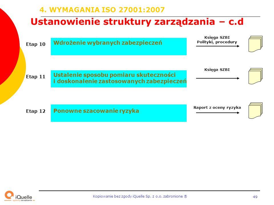 Kopiowanie bez zgody iQuelle Sp. z o.o. zabronione Ⓡ 49 Ustanowienie struktury zarządzania – c.d Ustalenie sposobu pomiaru skuteczności i doskonalenie
