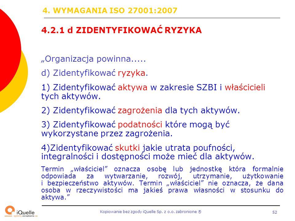 """Kopiowanie bez zgody iQuelle Sp. z o.o. zabronione Ⓡ 52 4.2.1 d ZIDENTYFIKOWAĆ RYZYKA """"Organizacja powinna..... d) Zidentyfikować ryzyka. 1) Zidentyfi"""