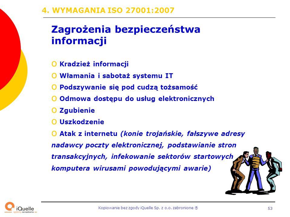 Kopiowanie bez zgody iQuelle Sp. z o.o. zabronione Ⓡ 53 Zagrożenia bezpieczeństwa informacji o Kradzież informacji o Włamania i sabotaż systemu IT o P