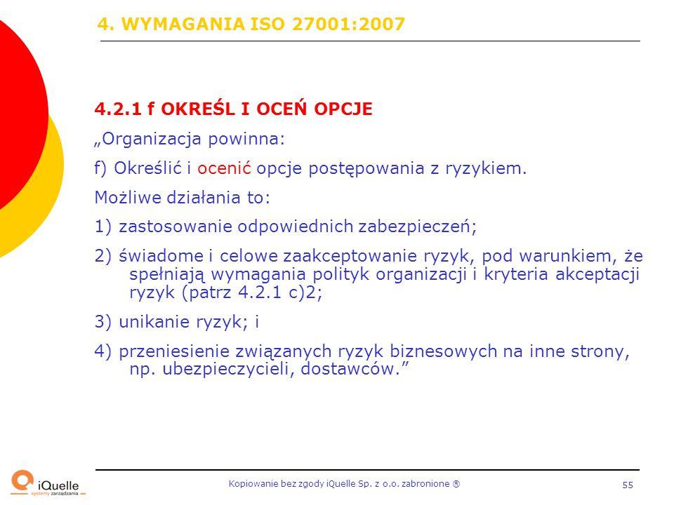 """Kopiowanie bez zgody iQuelle Sp. z o.o. zabronione Ⓡ 55 4.2.1 f OKREŚL I OCEŃ OPCJE """"Organizacja powinna: f) Określić i ocenić opcje postępowania z ry"""