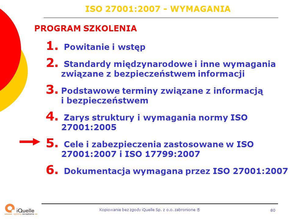 Kopiowanie bez zgody iQuelle Sp. z o.o. zabronione Ⓡ 80 PROGRAM SZKOLENIA 1. Powitanie i wstęp 2. Standardy międzynarodowe i inne wymagania związane z