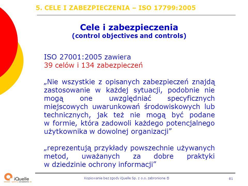 Kopiowanie bez zgody iQuelle Sp. z o.o. zabronione Ⓡ 81 Cele i zabezpieczenia (control objectives and controls) ISO 27001:2005 zawiera 39 celów i 134