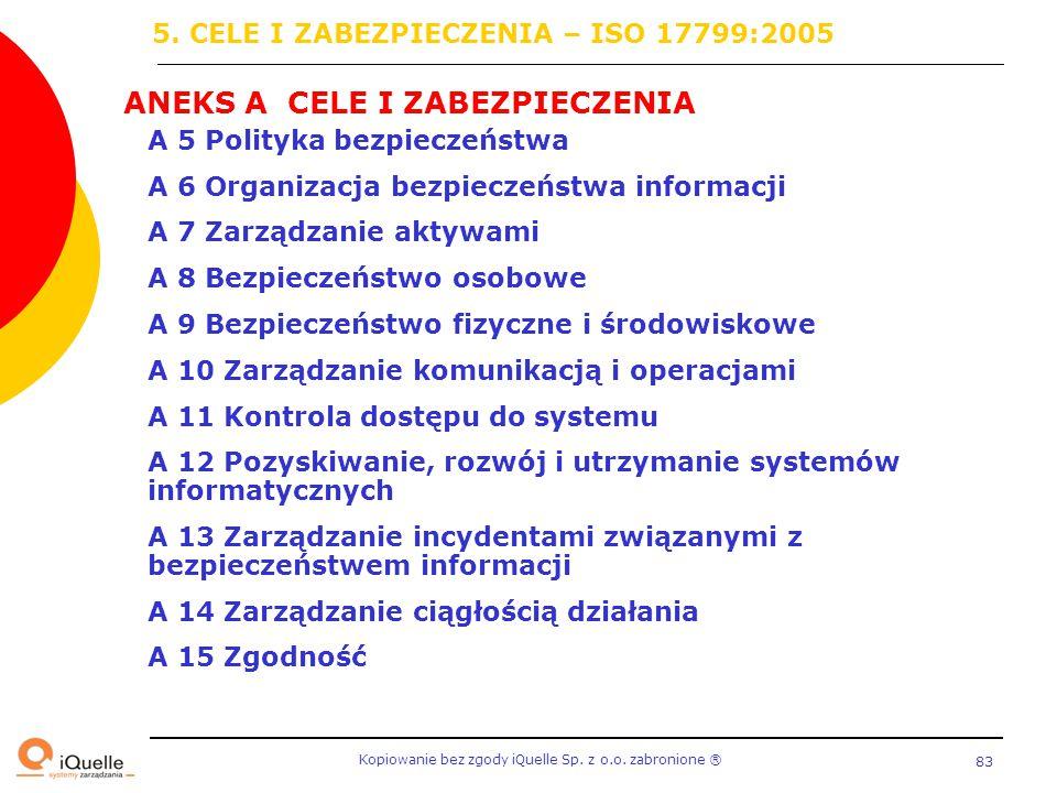Kopiowanie bez zgody iQuelle Sp. z o.o. zabronione Ⓡ 83 A 5 Polityka bezpieczeństwa A 6 Organizacja bezpieczeństwa informacji A 7 Zarządzanie aktywami