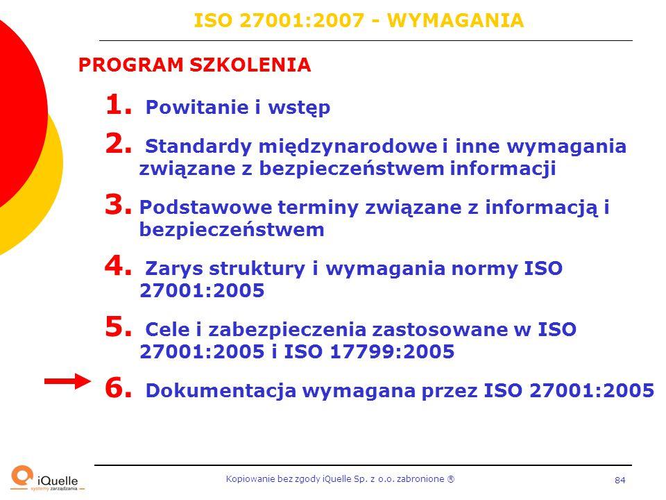 Kopiowanie bez zgody iQuelle Sp. z o.o. zabronione Ⓡ 84 PROGRAM SZKOLENIA 1. Powitanie i wstęp 2. Standardy międzynarodowe i inne wymagania związane z