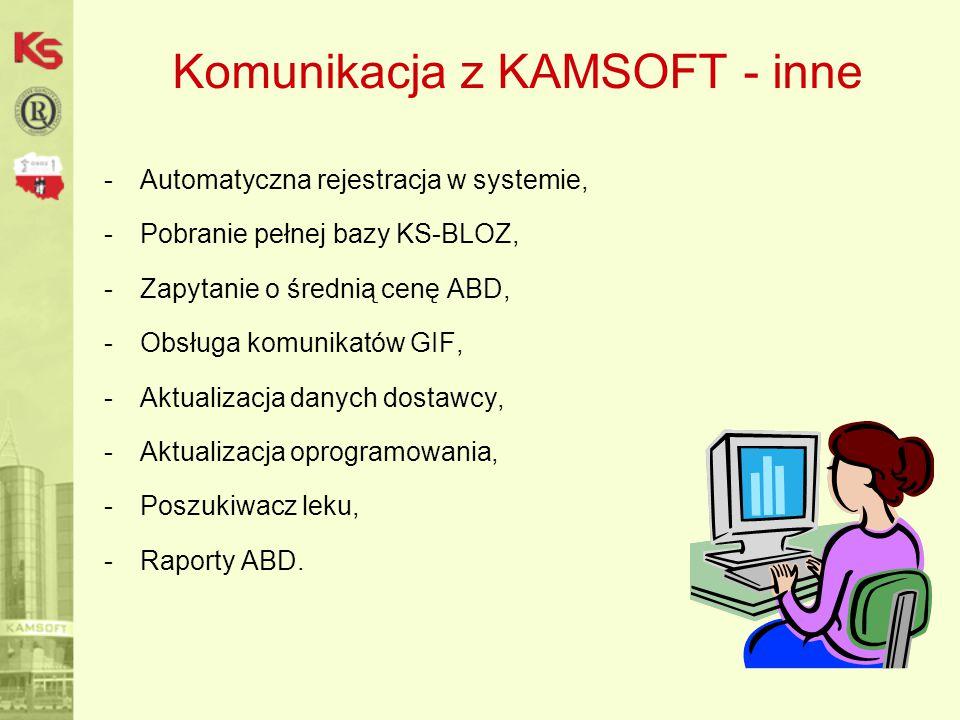 Komunikacja z KAMSOFT - inne -Automatyczna rejestracja w systemie, -Pobranie pełnej bazy KS-BLOZ, -Zapytanie o średnią cenę ABD, -Obsługa komunikatów