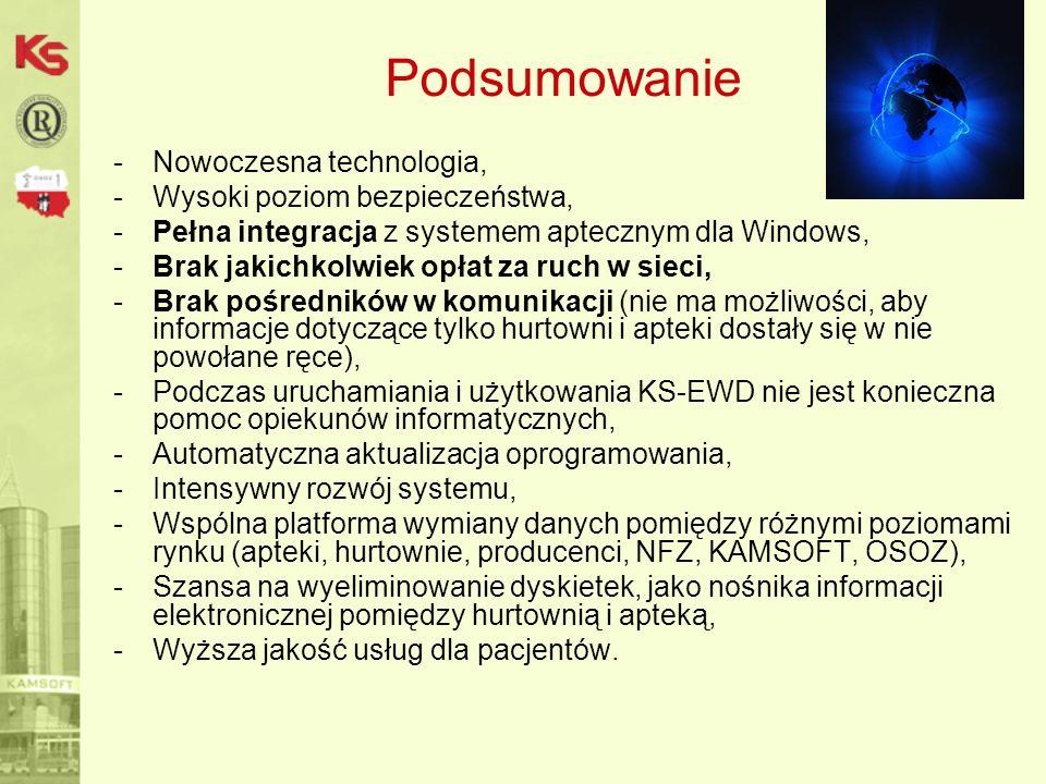 Podsumowanie -Nowoczesna technologia, -Wysoki poziom bezpieczeństwa, -Pełna integracja z systemem aptecznym dla Windows, -Brak jakichkolwiek opłat za