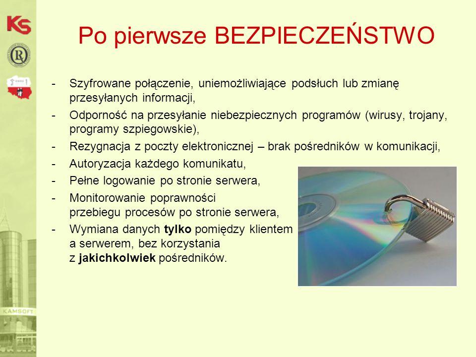 Po pierwsze BEZPIECZEŃSTWO -Szyfrowane połączenie, uniemożliwiające podsłuch lub zmianę przesyłanych informacji, -Odporność na przesyłanie niebezpiecz
