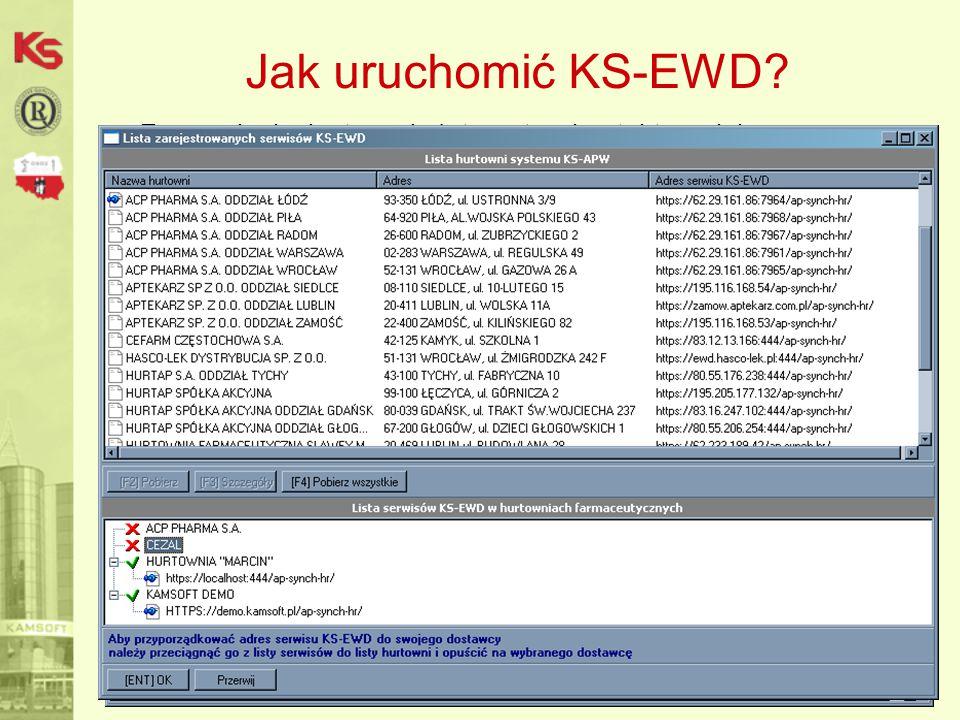 Rozpoczęcie wymiany danych z hurtownią -Pobranie parametrów połączenia, -Ustalenie hasła dostępu do serwisu (telefonicznie, mailowo) – jest identyczne z hasłem do usług przez KS-MODEM.