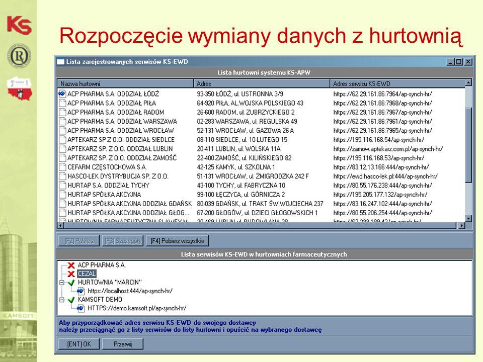 Podsumowanie -Nowoczesna technologia, -Wysoki poziom bezpieczeństwa, -Pełna integracja z systemem aptecznym dla Windows, -Brak jakichkolwiek opłat za ruch w sieci, -Brak pośredników w komunikacji (nie ma możliwości, aby informacje dotyczące tylko hurtowni i apteki dostały się w nie powołane ręce), -Podczas uruchamiania i użytkowania KS-EWD nie jest konieczna pomoc opiekunów informatycznych, -Automatyczna aktualizacja oprogramowania, -Intensywny rozwój systemu, -Wspólna platforma wymiany danych pomiędzy różnymi poziomami rynku (apteki, hurtownie, producenci, NFZ, KAMSOFT, OSOZ), -Szansa na wyeliminowanie dyskietek, jako nośnika informacji elektronicznej pomiędzy hurtownią i apteką, -Wyższa jakość usług dla pacjentów.