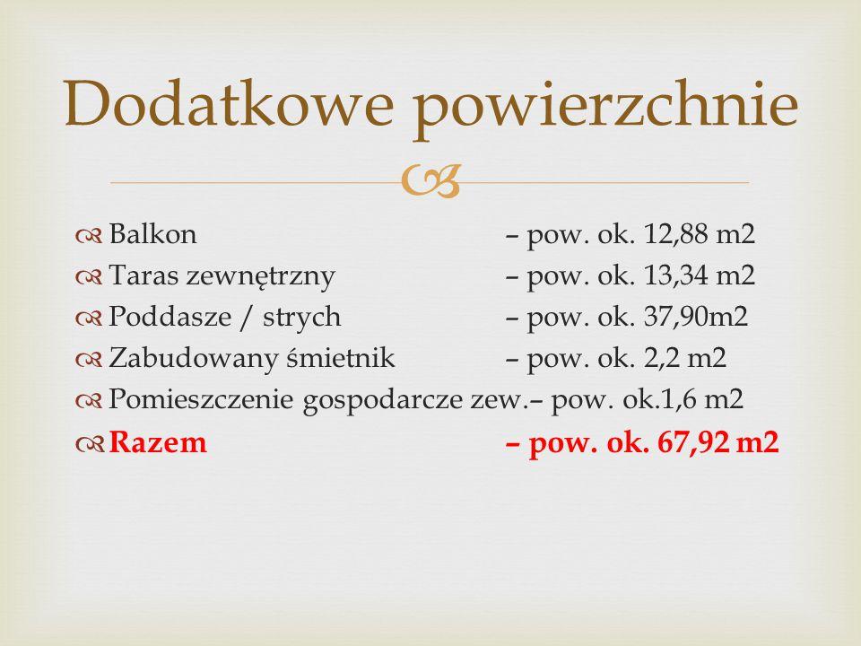   Balkon– pow.ok. 12,88 m2  Taras zewnętrzny– pow.