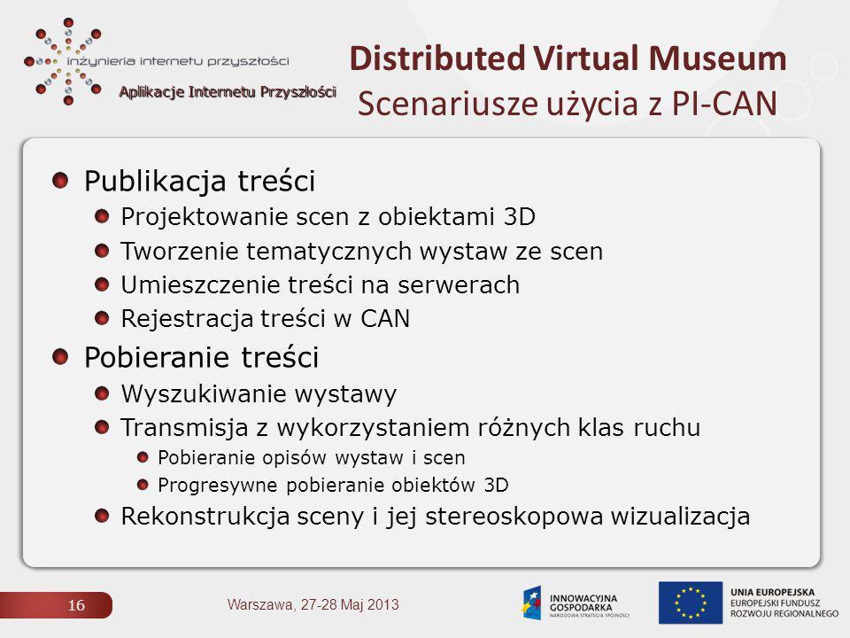 Aplikacje Internetu Przyszłości Distributed Virtual Museum Scenariusze użycia z PI-CAN 16 Warszawa, 27-28 Maj 2013 Publikacja treści Projektowanie scen z obiektami 3D Tworzenie tematycznych wystaw ze scen Umieszczenie treści na serwerach Rejestracja treści w CAN Pobieranie treści Wyszukiwanie wystawy Transmisja z wykorzystaniem różnych klas ruchu Pobieranie opisów wystaw i scen Progresywne pobieranie obiektów 3D Rekonstrukcja sceny i jej stereoskopowa wizualizacja