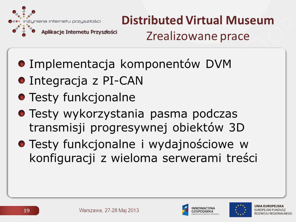 Aplikacje Internetu Przyszłości Distributed Virtual Museum Zrealizowane prace 19 Warszawa, 27-28 Maj 2013 Implementacja komponentów DVM Integracja z PI-CAN Testy funkcjonalne Testy wykorzystania pasma podczas transmisji progresywnej obiektów 3D Testy funkcjonalne i wydajnościowe w konfiguracji z wieloma serwerami treści