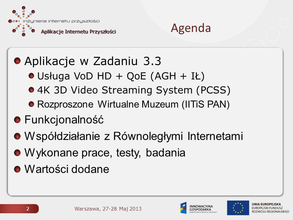 Aplikacje Internetu Przyszłości 2 Agenda Aplikacje w Zadaniu 3.3 Usługa VoD HD + QoE (AGH + IŁ) 4K 3D Video Streaming System (PCSS) Rozproszone Wirtualne Muzeum (IITiS PAN) Funkcjonalność Współdziałanie z Równoległymi Internetami Wykonane prace, testy, badania Wartości dodane 2 Warszawa, 27-28 Maj 2013