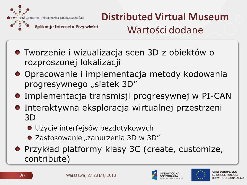 """Aplikacje Internetu Przyszłości Distributed Virtual Museum Wartości dodane 20 Warszawa, 27-28 Maj 2013 Tworzenie i wizualizacja scen 3D z obiektów o rozproszonej lokalizacji Opracowanie i implementacja metody kodowania progresywnego """"siatek 3D Implementacja transmisji progresywnej w PI-CAN Interaktywna eksploracja wirtualnej przestrzeni 3D Użycie interfejsów bezdotykowych Zastosowanie """"zanurzenia 3D w 3D Przykład platformy klasy 3C (create, customize, contribute)"""